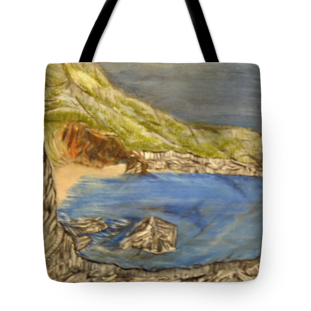 Ocean Tote Bag featuring the painting Stairway To The Beach by Suzanne Surber