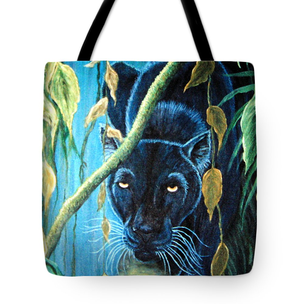 Black Panther Tote Bag featuring the painting Stalking Black Panther by Nick Gustafson