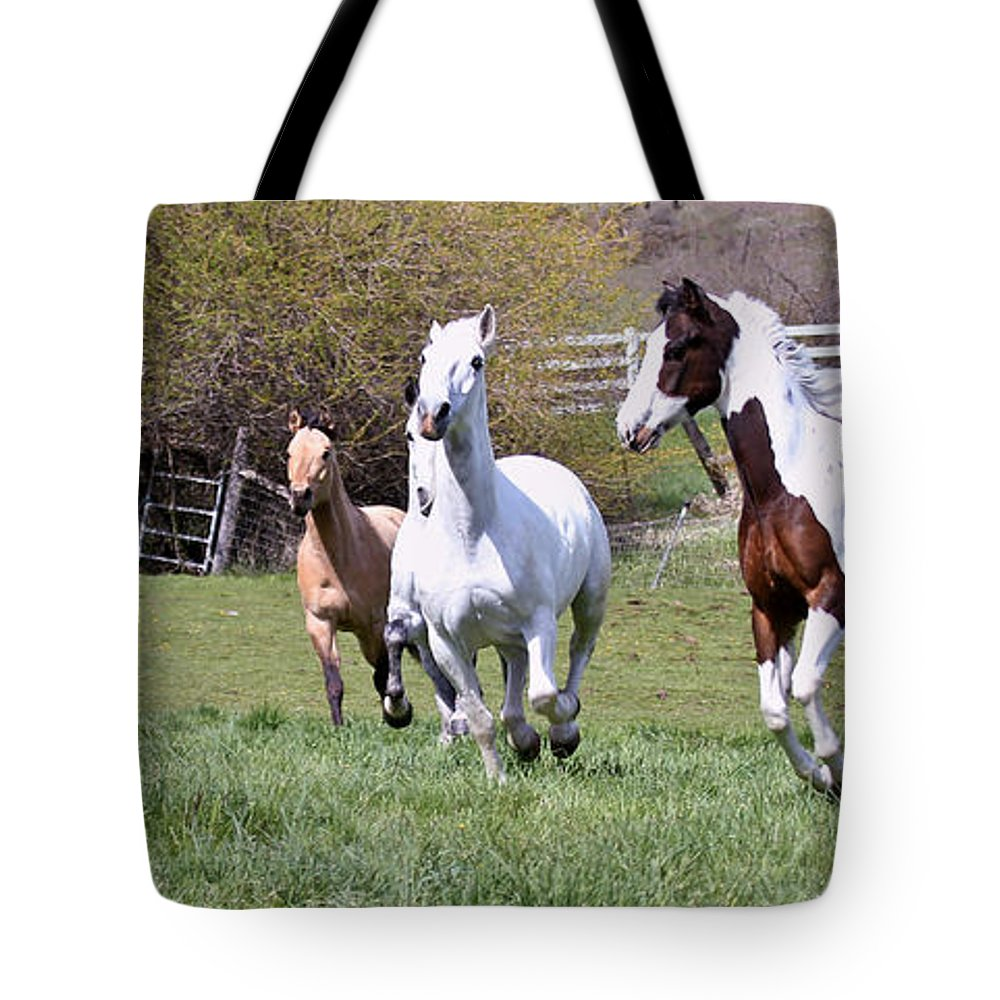 Horses Tote Bag featuring the photograph Stampede by Athena Mckinzie