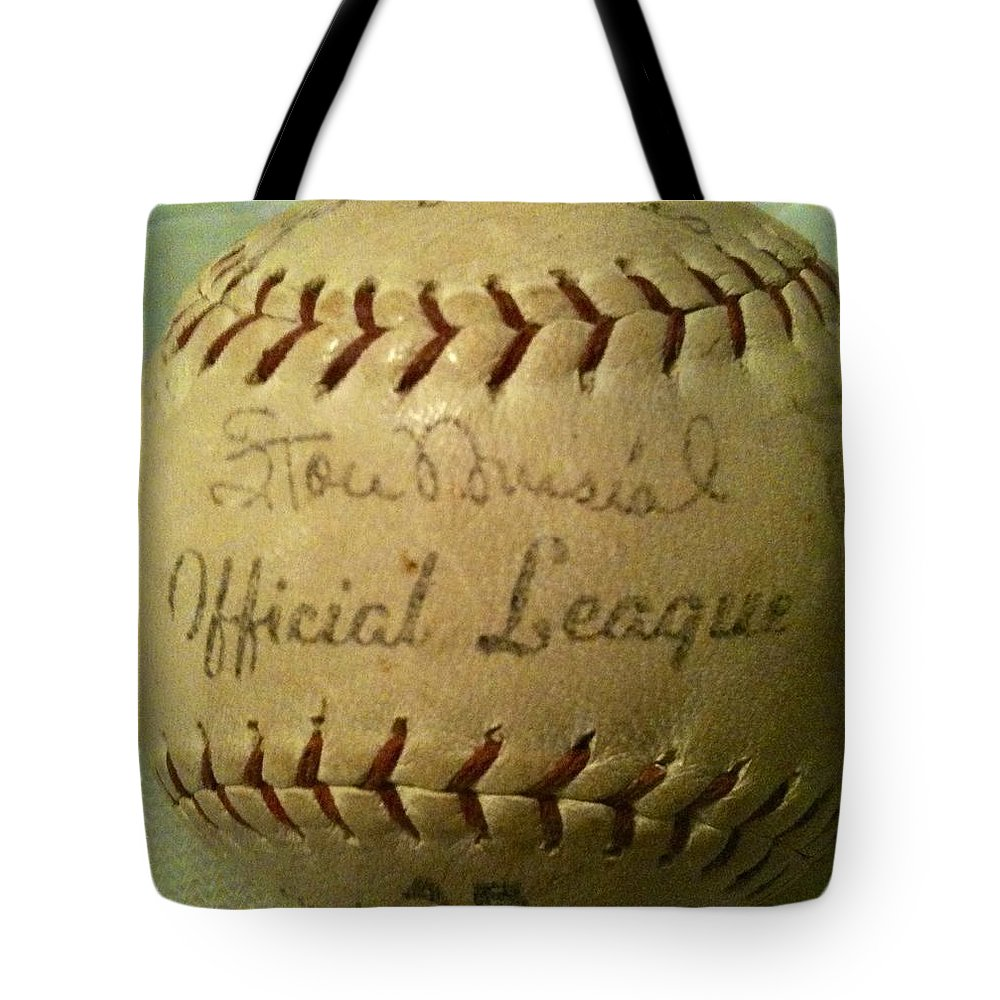 Stan Musial Tote Bag featuring the photograph Stan Musial Autograph Baseball by Lois Ivancin Tavaf