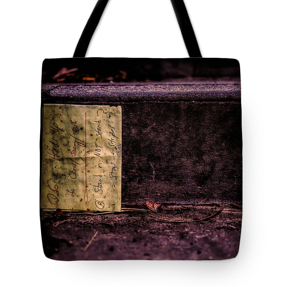Abstract Tote Bag featuring the photograph Stand Or Not Stand by Bob Orsillo