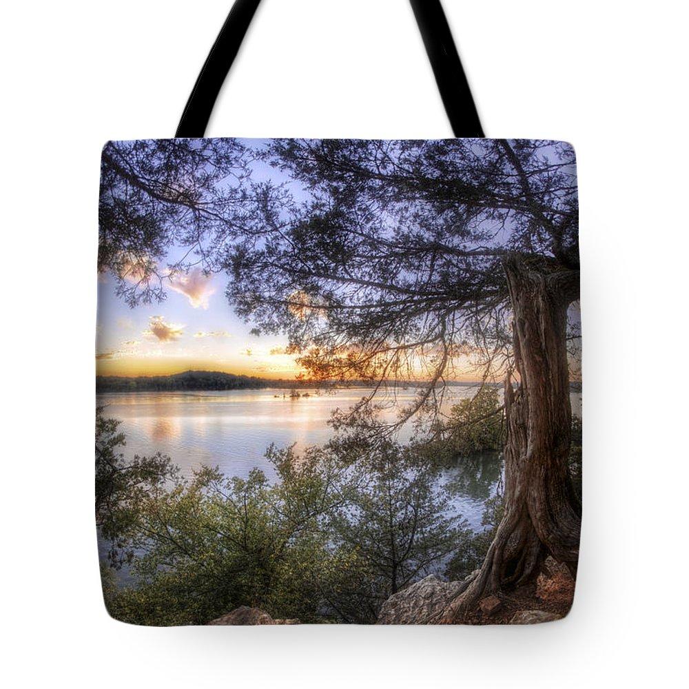 Sunset Tote Bag featuring the photograph Standing Sentinel - Arkansas - Cadron Settlement Park by Jason Politte