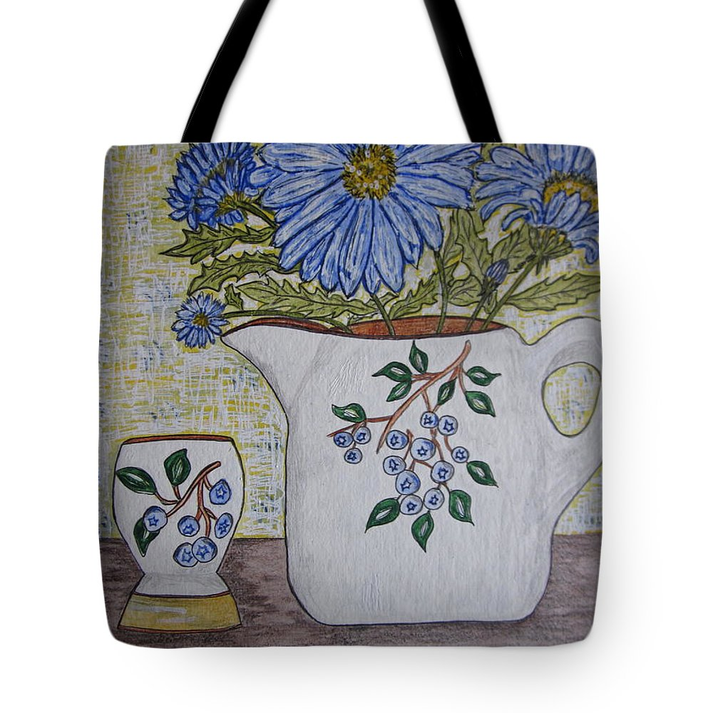 Stangl Blueberry Pottery Tote Bag featuring the painting Stangl Blueberry Pottery by Kathy Marrs Chandler