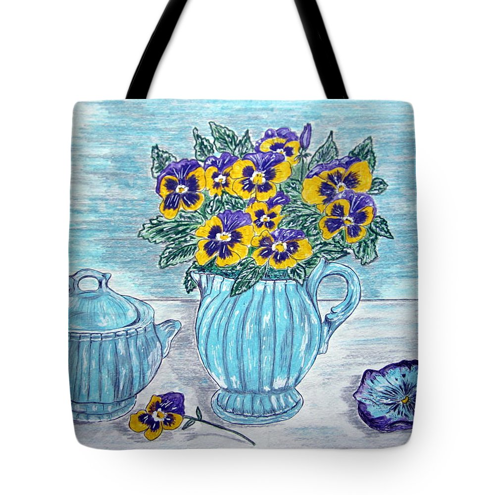 Stangl Pottery Tote Bag featuring the painting Stangl Pottery And Pansies by Kathy Marrs Chandler