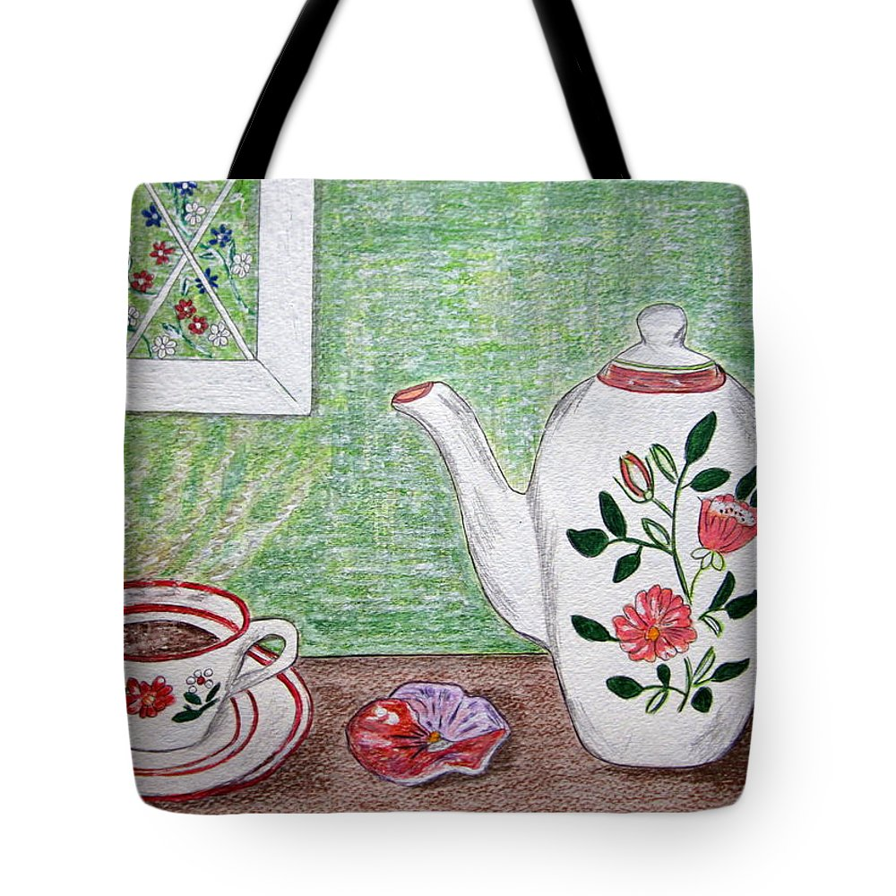 Stangl Pottery Tote Bag featuring the painting Stangl Pottery Rose Pattern by Kathy Marrs Chandler