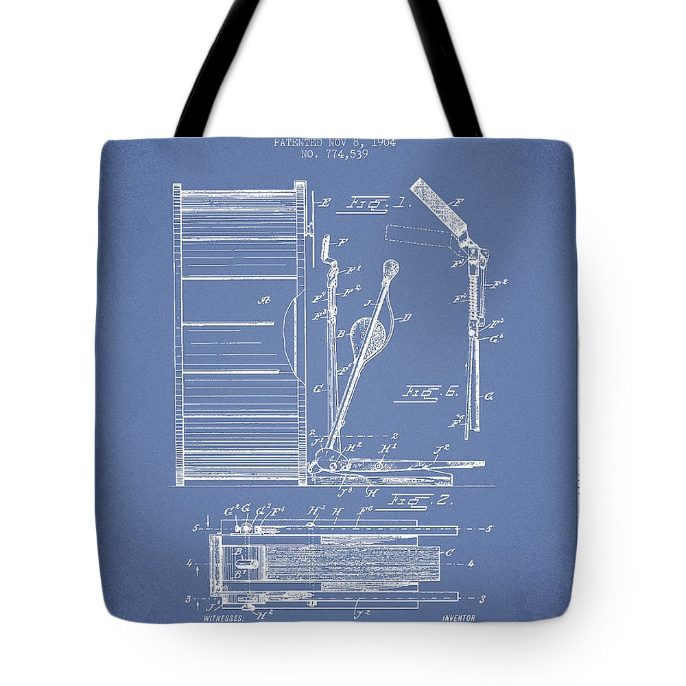 Drum Tote Bag featuring the digital art Stanton Bass Drum Patent Drawing From 1904 - Light Blue by Aged Pixel