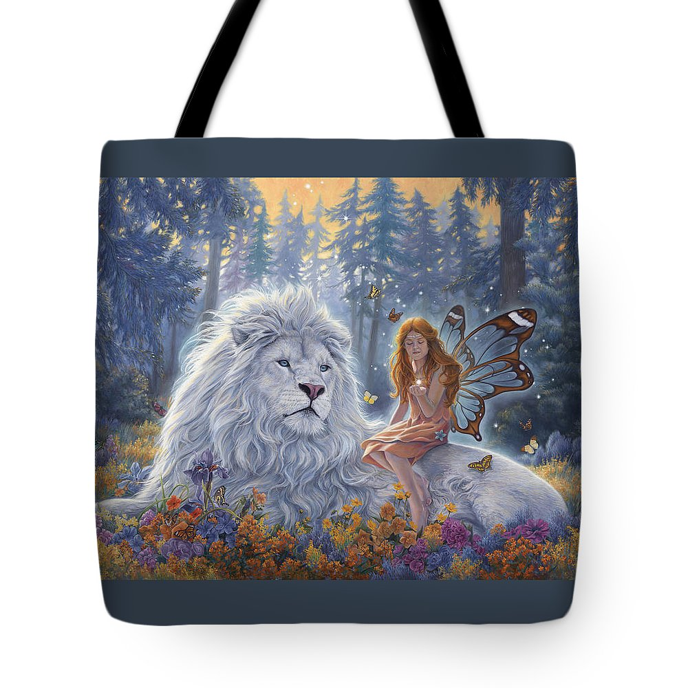 White Lion Tote Bag featuring the painting Star Birth by Lucie Bilodeau