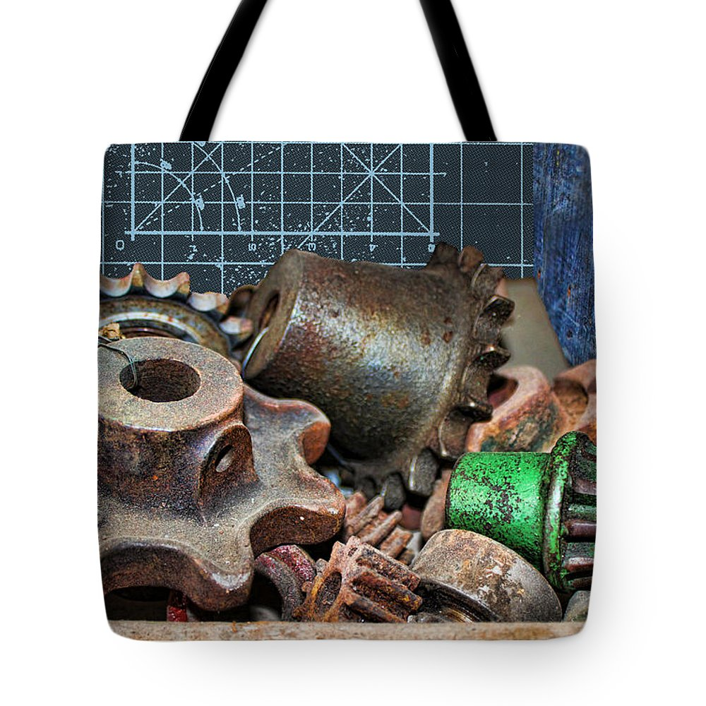 Gears Tote Bag featuring the photograph Star Gears by Sylvia Thornton