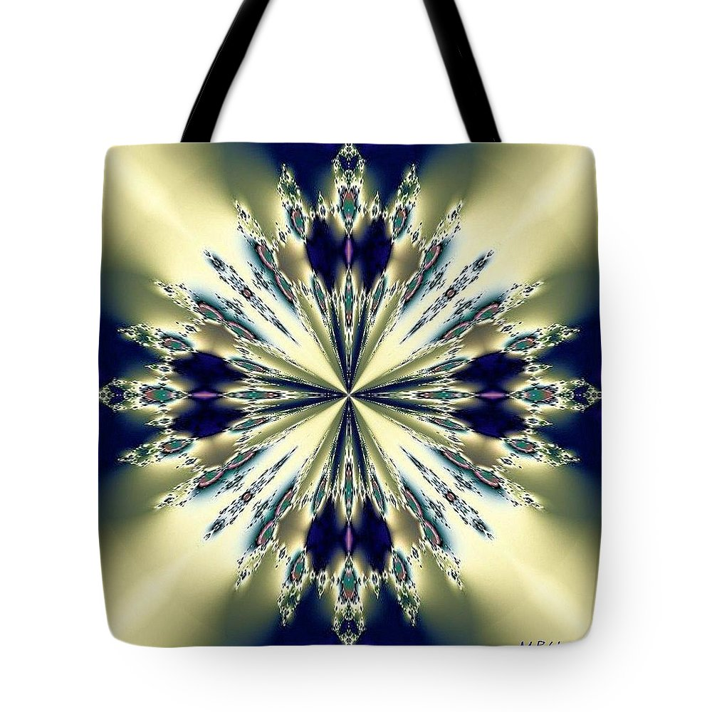 Star Jewel Fractal Tote Bag featuring the digital art Star Jewel Fractal by Maria Urso