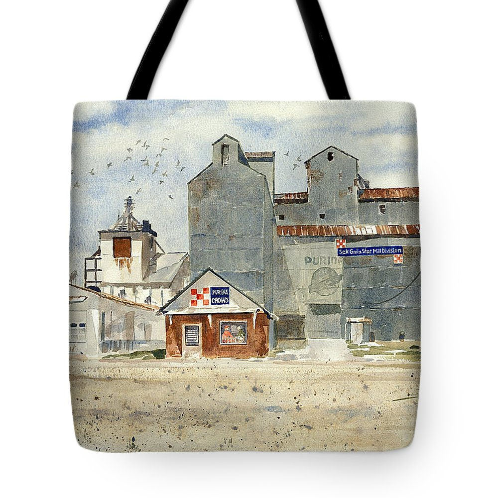 For Many Years Farmers Brought Grain To This Purina Star Mill In Independence Tote Bag featuring the painting Star Mill by Monte Toon