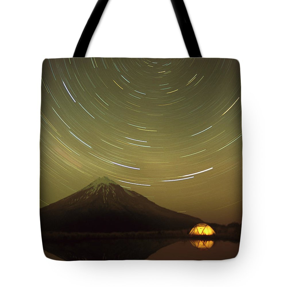 Fn Tote Bag featuring the photograph Star Trails Around South Celestial Pole by Harley Betts