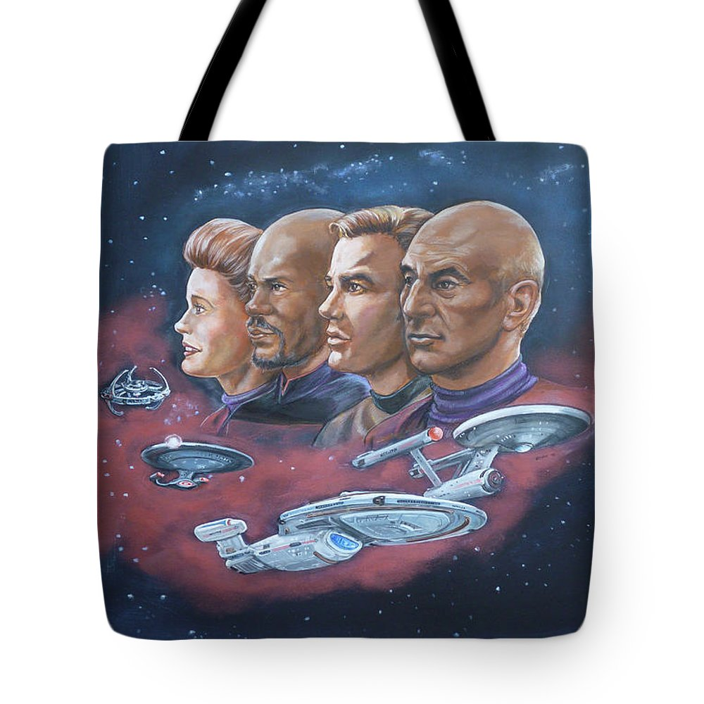 Star Trek Tote Bag featuring the painting Star Trek Tribute Captains by Bryan Bustard