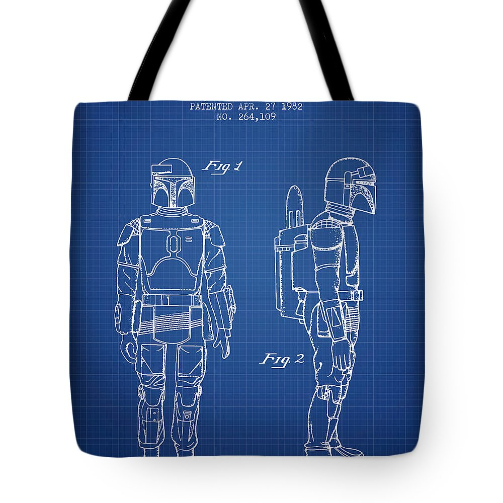 Star Wars Boba Fett Patent From 1982 Blueprint Tote Bag For Sale