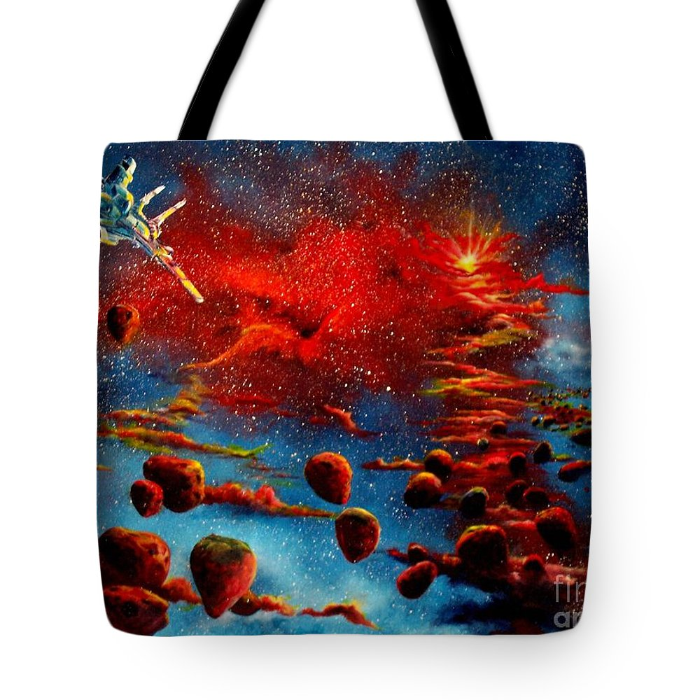 Nova Tote Bag featuring the painting Starberry Nova Alien Excape by Murphy Elliott