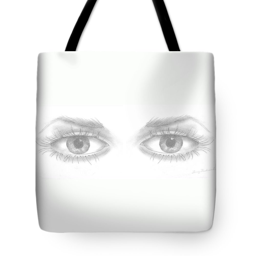 Eyes Tote Bag featuring the drawing Stare by Terry Frederick