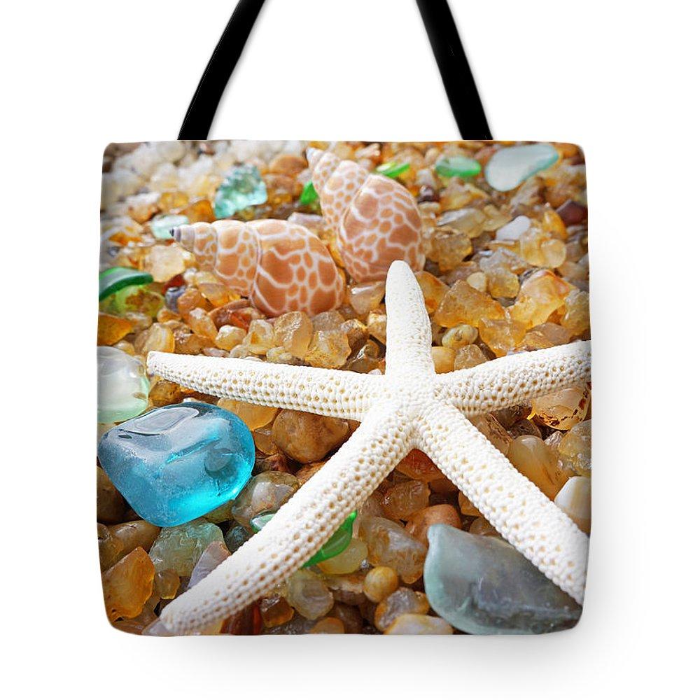 Starfish Tote Bag featuring the photograph Starfish Art Prints Shells Agates Coastal Beach by Baslee Troutman