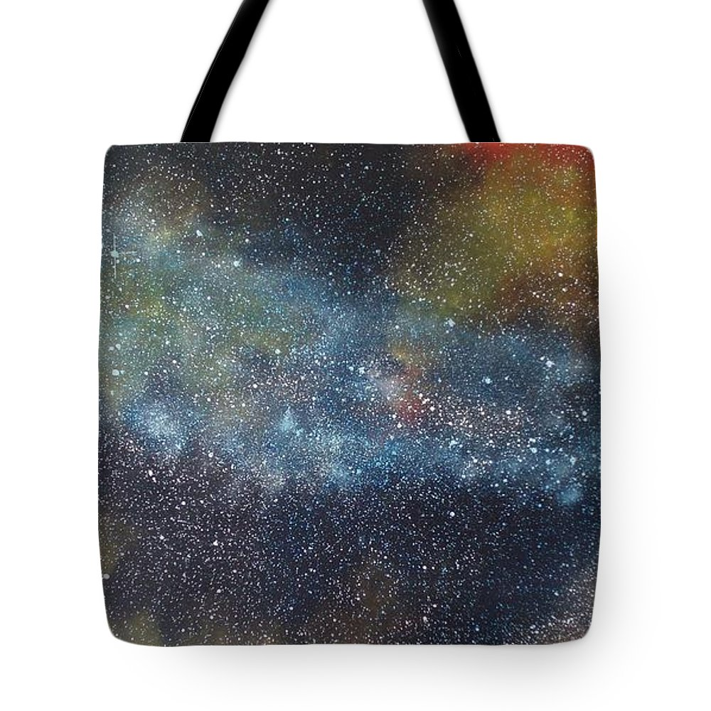 Space;stars;starry;nebula;spiral;galaxy;star Cluster;celestial;cosmos;universe;orgasm Tote Bag featuring the painting Stargasm by Sean Connolly