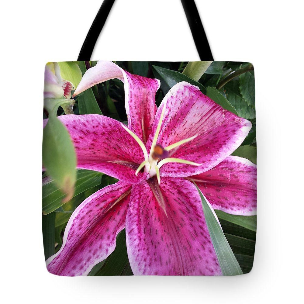 Flower Tote Bag featuring the photograph Stargazer Lilly by Suzi Freeman