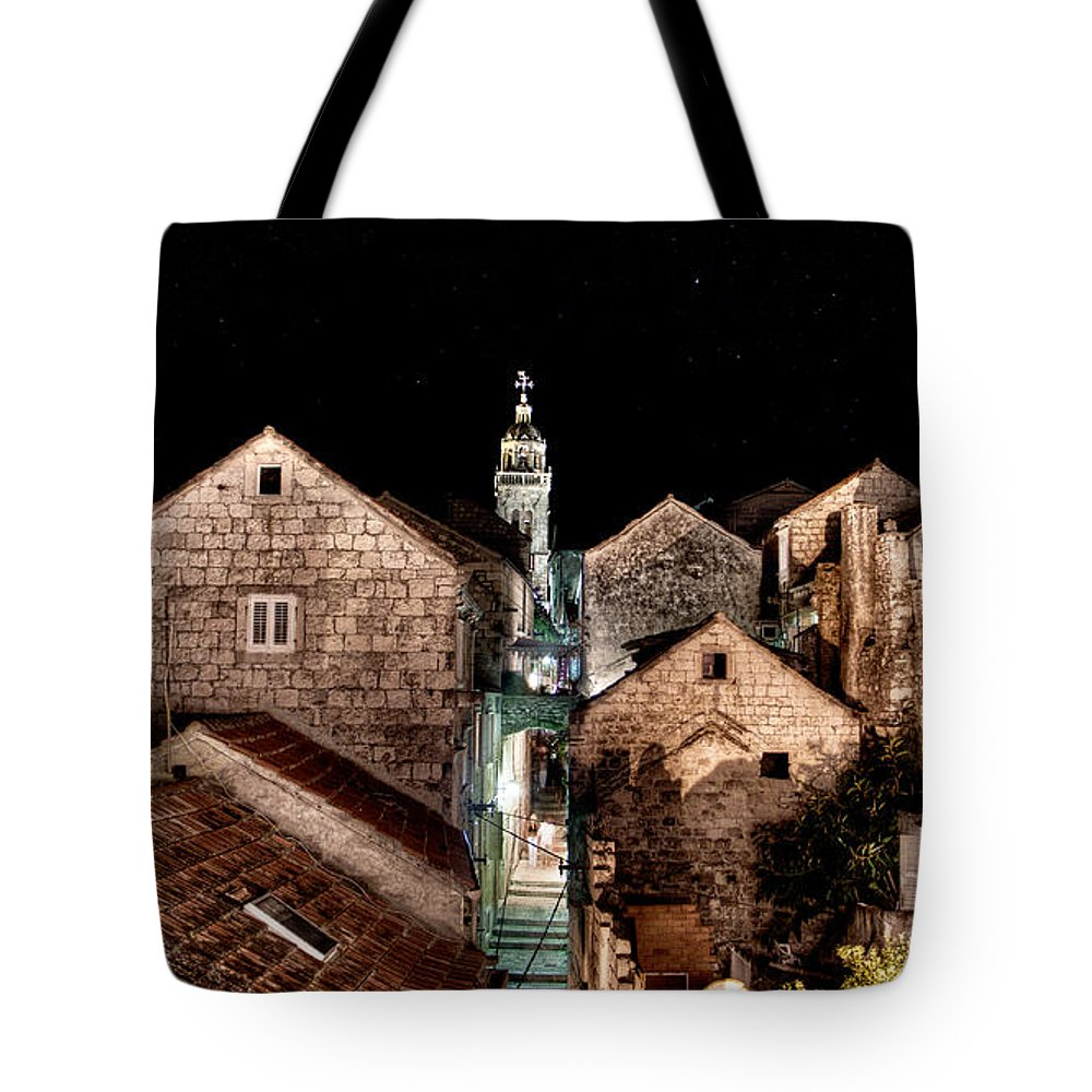 Starrry Night Tote Bag featuring the photograph Starry Night Above The Rooftops Of Korcula by Weston Westmoreland