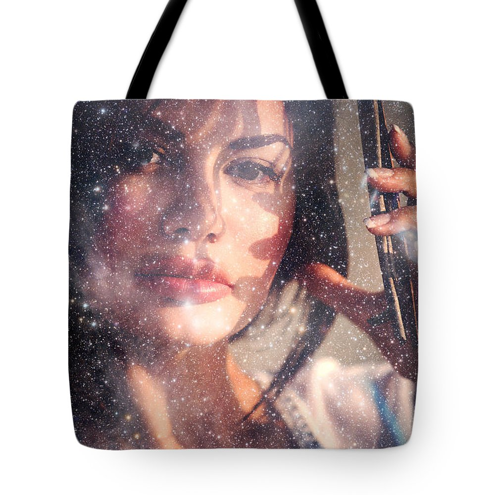 Woman Tote Bag featuring the photograph Starry Woman by Jenny Rainbow