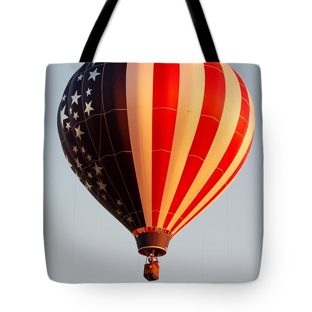 Hot Air Balloon Tote Bag featuring the photograph Stars And Stripes by Christopher James