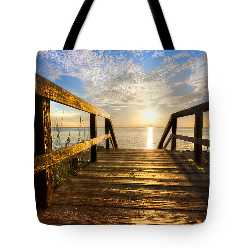 Blowing Rocks Tote Bag featuring the photograph Start Of The Day by Debra and Dave Vanderlaan