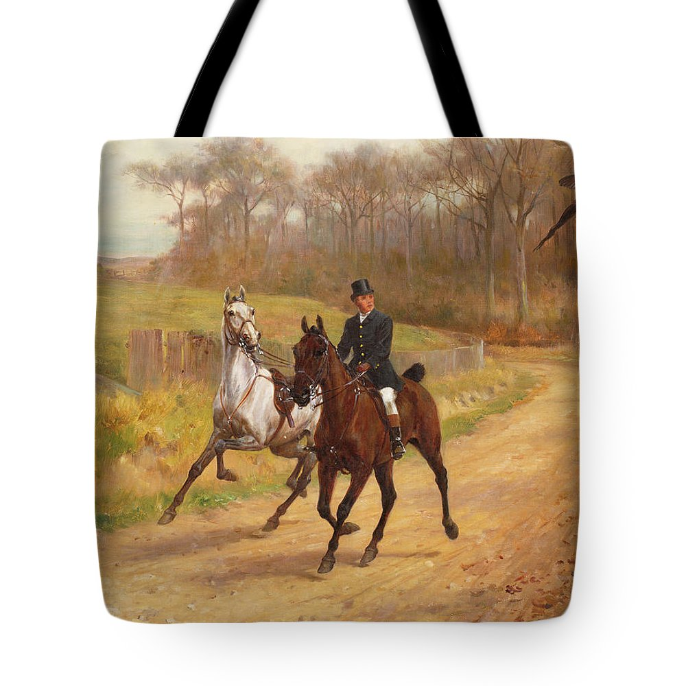 Pheasant; Horse; Shy; Leading; Rein Tote Bag featuring the painting Startled by Thomas Blinks
