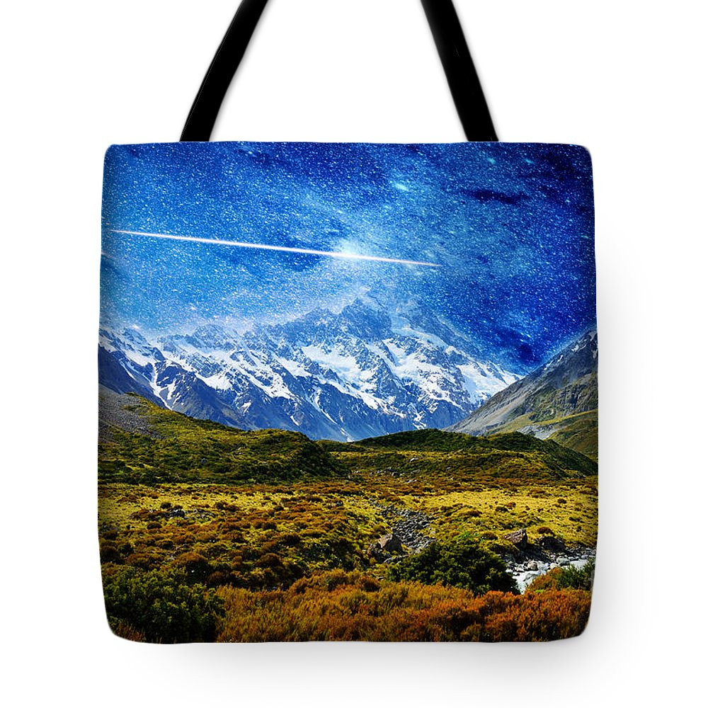 Night Tote Bag featuring the photograph Stary Night Over Highlands by Celestial Images