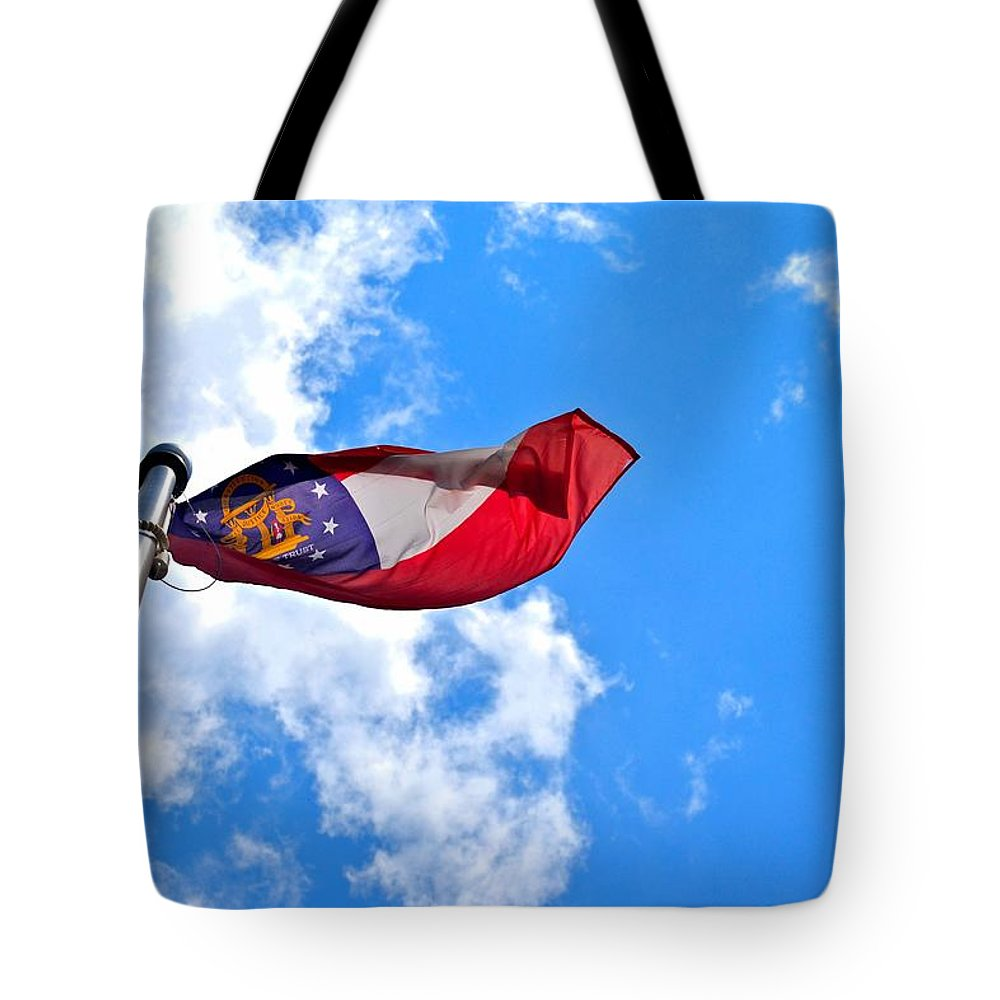 Flag Tote Bag featuring the photograph State Flag Of Georgia by Tara Potts