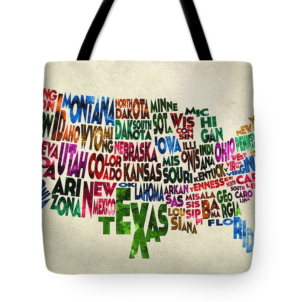 United States Tote Bag featuring the painting States Of United States Typographic Map - Parchment Style by Inspirowl Design