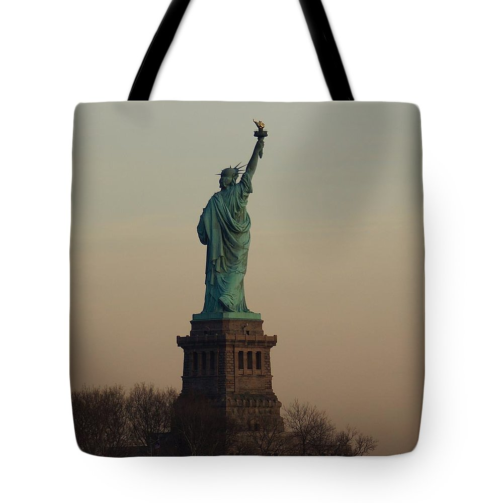 Statue Tote Bag featuring the photograph Statue Of Liberty From The Jersey Side by John Wall