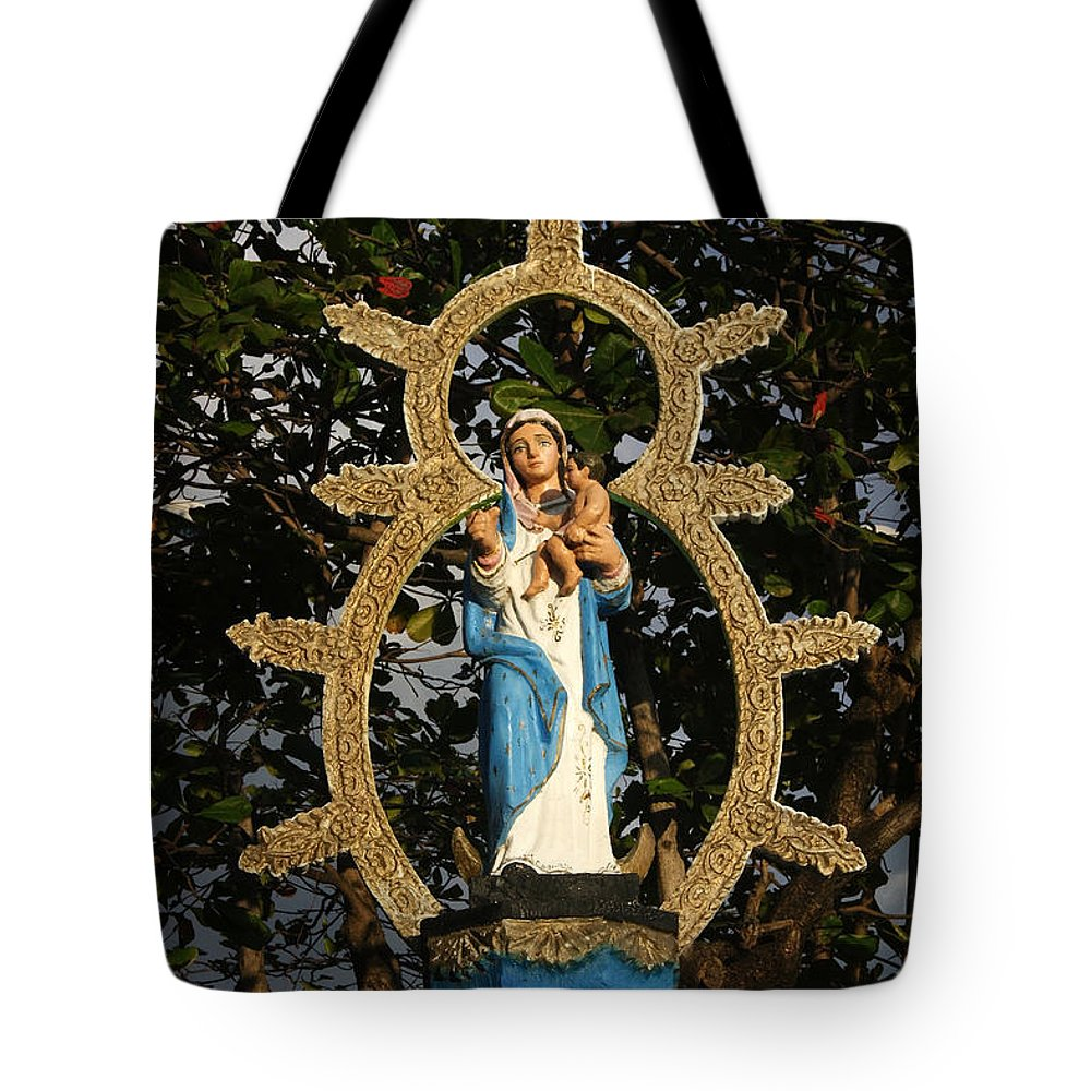 Central Tote Bag featuring the photograph statue of the Virgin Mary in Granada Nicaragua by Rudi Prott