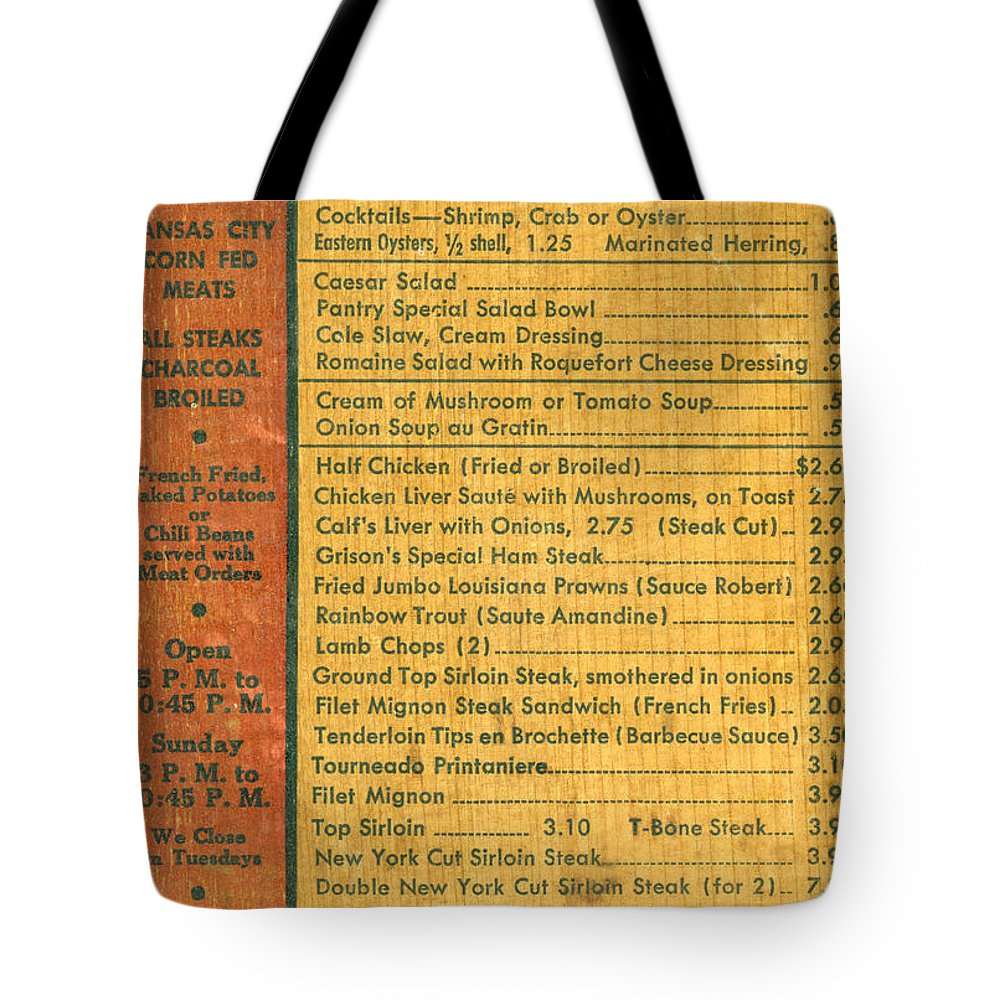 1938 Tote Bag featuring the photograph Steak House Wooden Menu by Underwood Archives