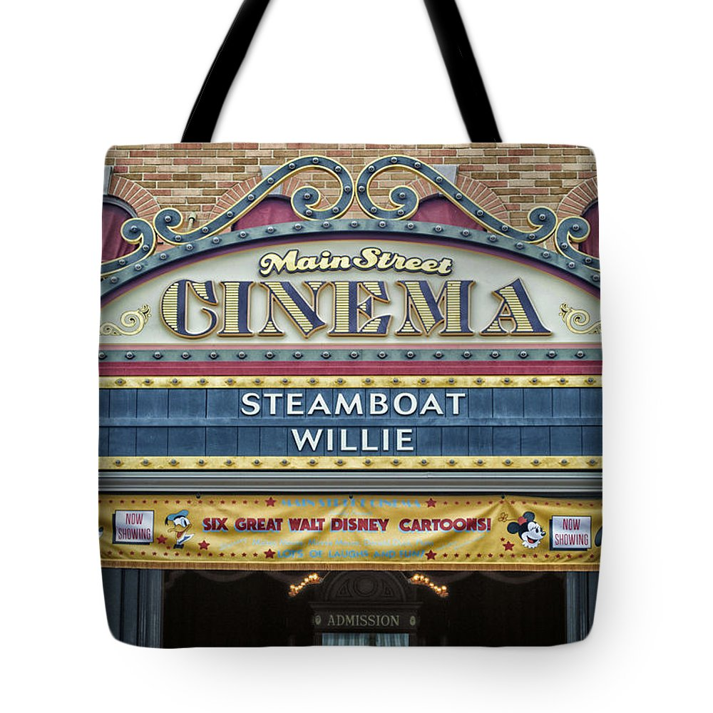 Disney Tote Bag featuring the photograph Steam Boat Willie Signage Main Street Disneyland 01 by Thomas Woolworth