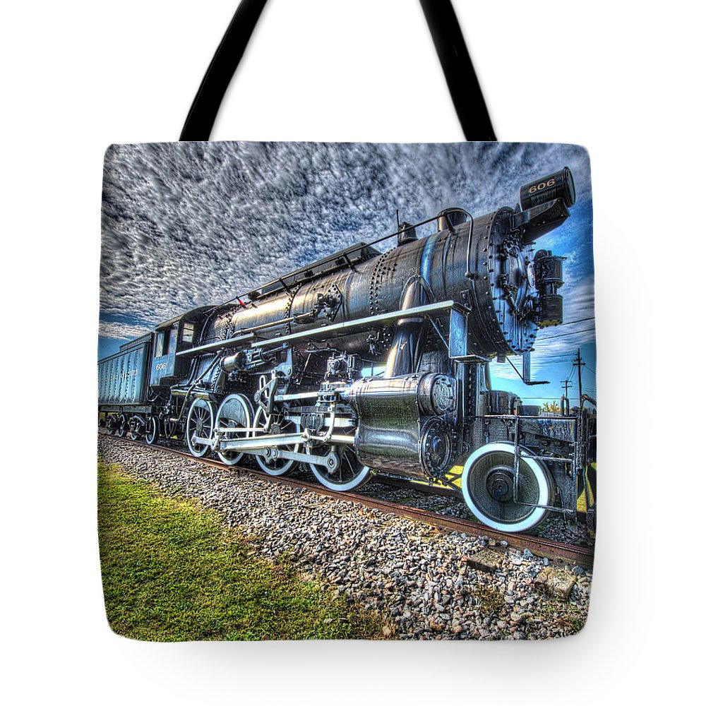 Historic Tote Bag featuring the photograph Steam Locomotive No 606 by Greg Hager