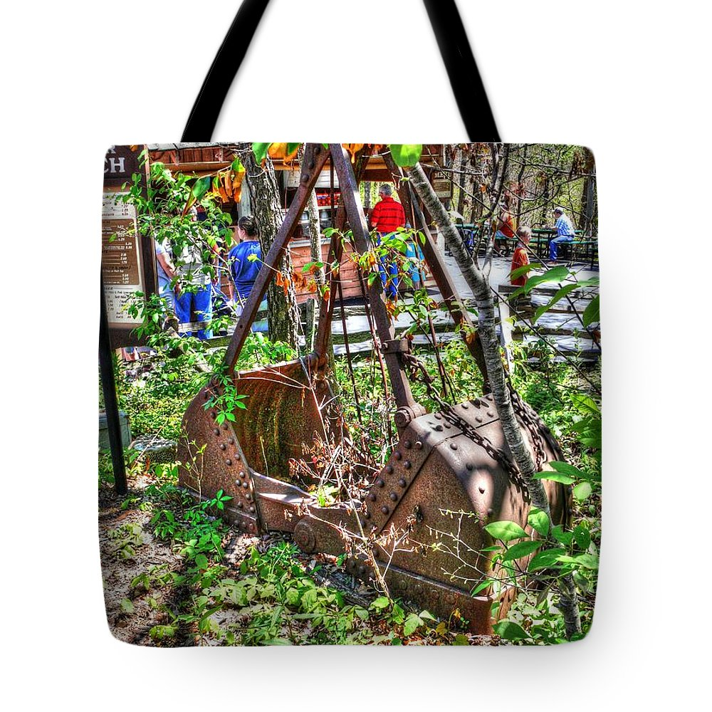 Steam Tote Bag featuring the photograph Steam Shovel Bucket by John Straton