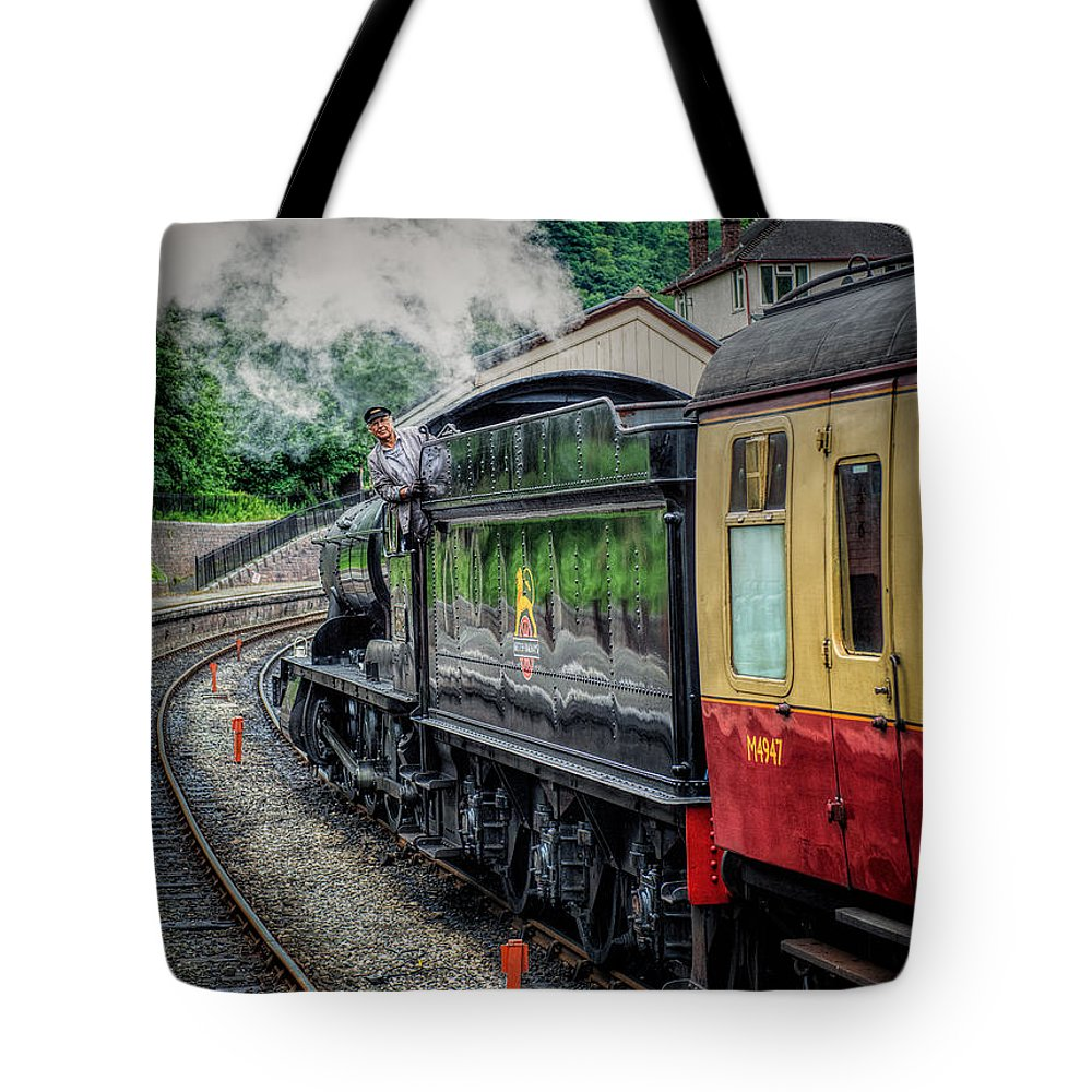 Steam Locomotive Tote Bag featuring the photograph Steam Train 3802 by Adrian Evans