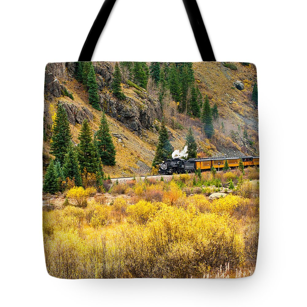 Black Knight Holdings Tote Bag featuring the photograph Steam Train 5 by Randy Giesbrecht