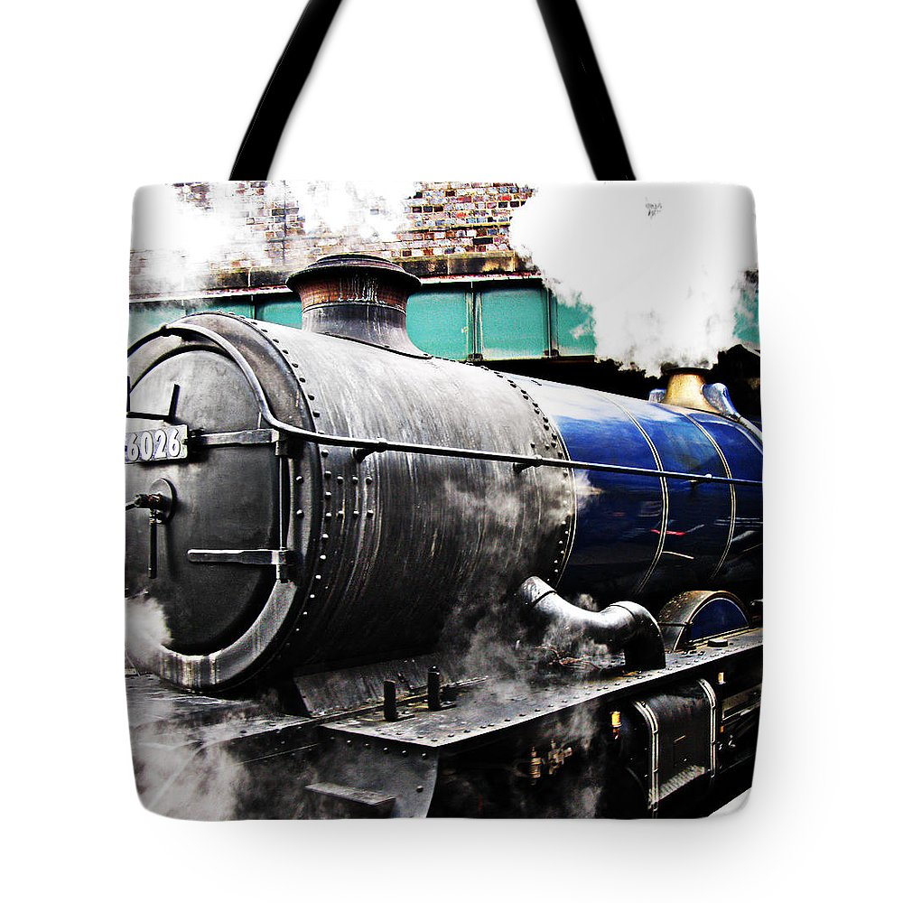 Vintage Tote Bag featuring the photograph Steam Train Under The Railway Bridge by Tom Conway