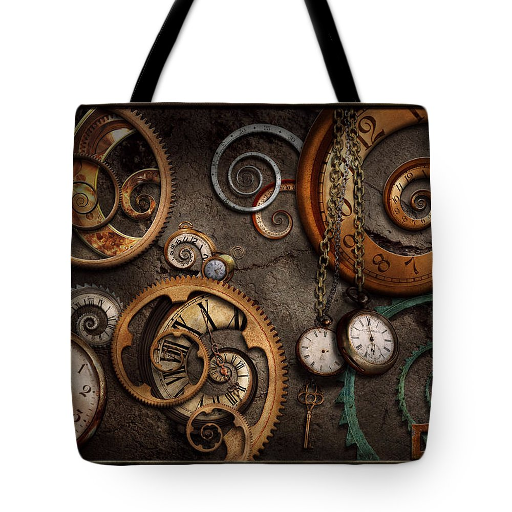 Steampunk Tote Bag featuring the photograph Steampunk - Abstract - Time Is Complicated by Mike Savad
