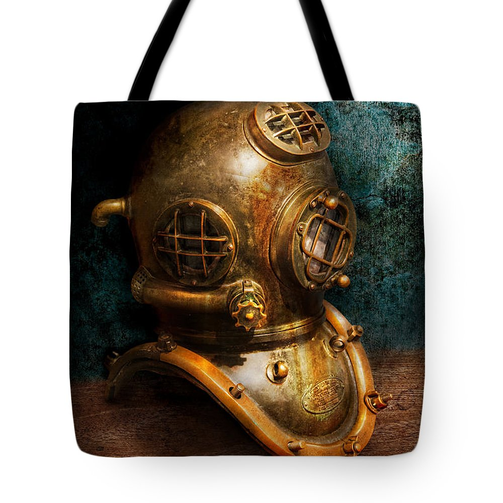 Hdr Tote Bag featuring the photograph Steampunk - Diving - The Diving Helmet by Mike Savad
