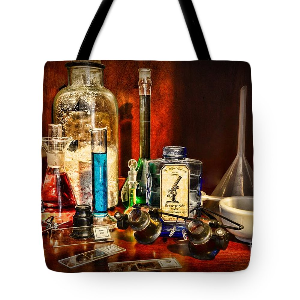 Paul Ward Tote Bag featuring the photograph Steampunk - Microscope Sight by Paul Ward