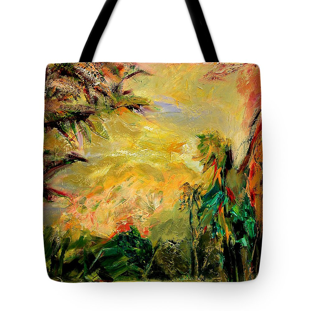 Tropical Paintings Tote Bag featuring the painting Steamy Cove by Julianne Felton
