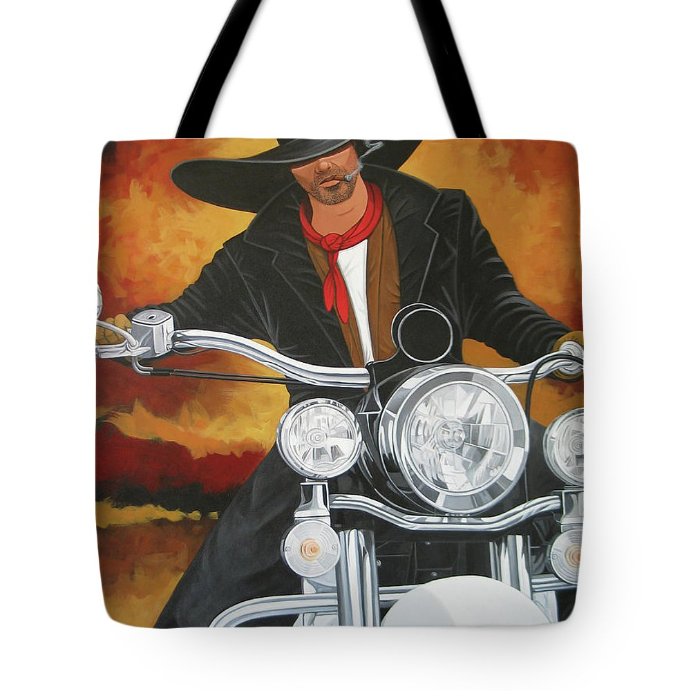 Cowboy On Motorcycle Tote Bag featuring the painting Steel Pony by Lance Headlee