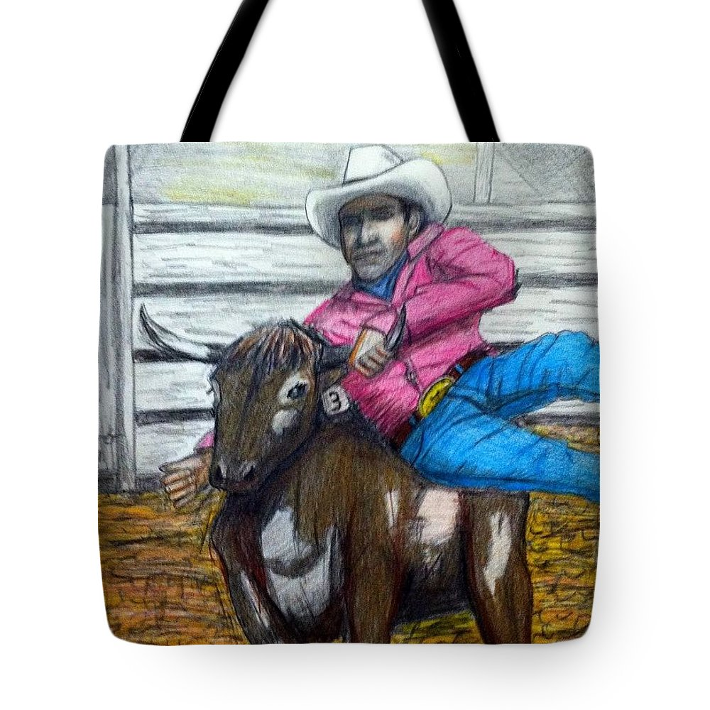 Art Tote Bag featuring the drawing Steer Wrestling Original For Sale by Larry Lamb