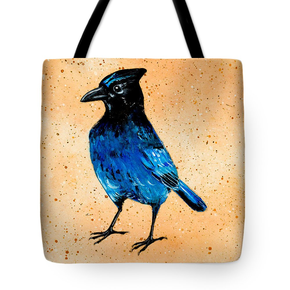 Tote Bag featuring the painting Stellar Jay by Stefanie Forck