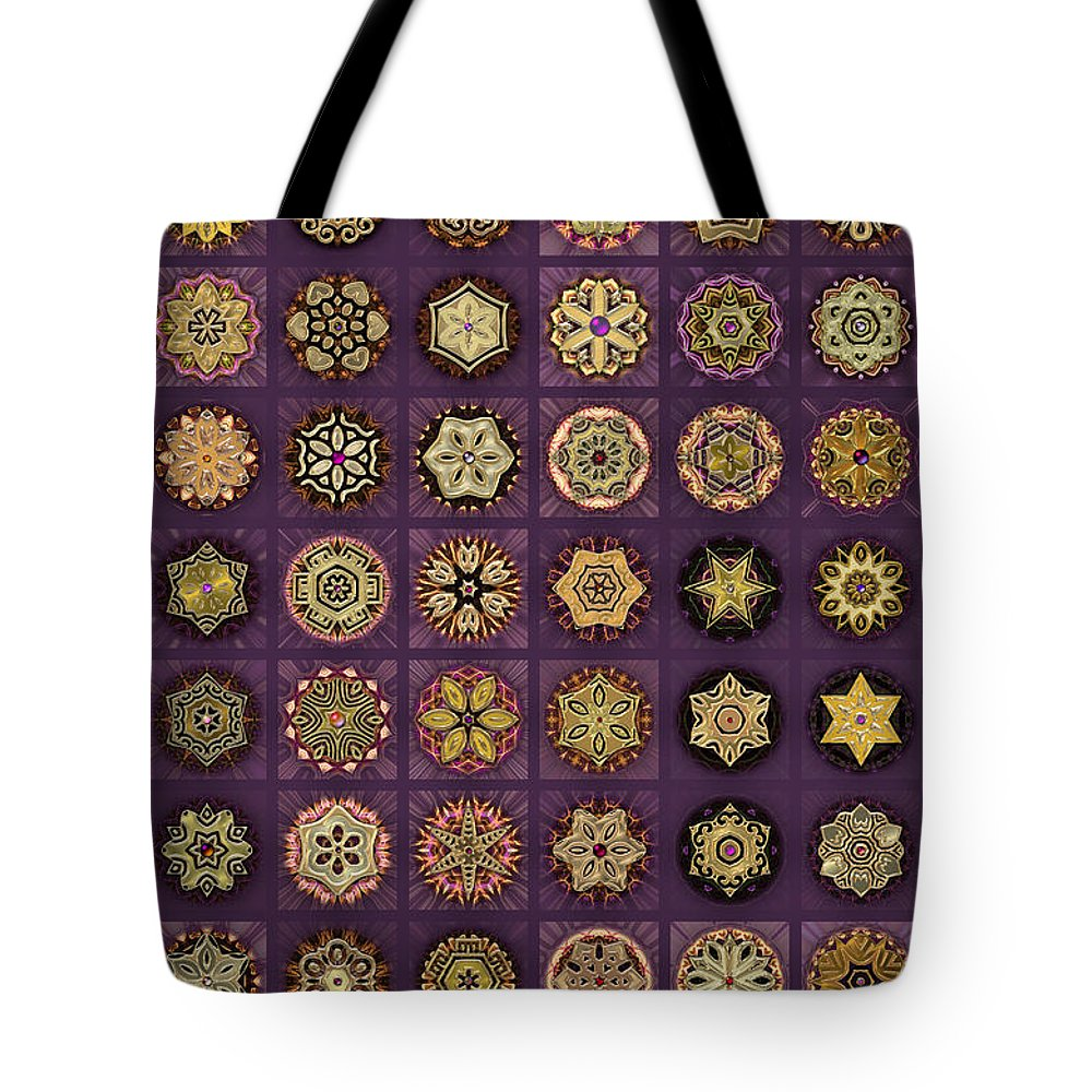 Pink Tote Bag featuring the digital art Stellars One Dingbat Quilt by Ann Stretton