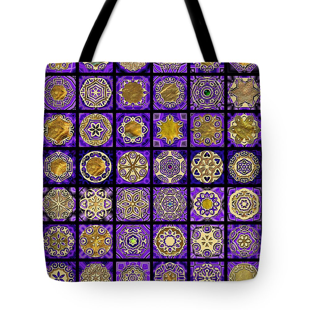 Flowers Tote Bag featuring the digital art Stellars Two Dingbat Quilt by Ann Stretton