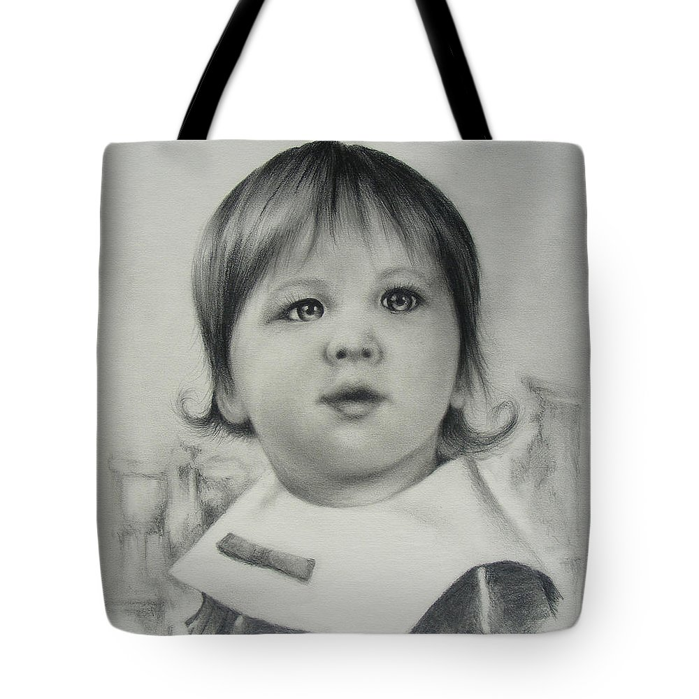 Child Tote Bag featuring the drawing Stephanie by Rachel Christine Nowicki