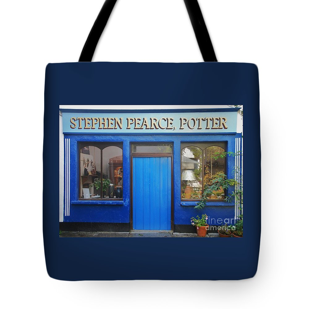 Stephen Pearce Shop Bally Maloo Ireland Store Front Color Blue Rural Windows Shanagarry Icon Travel Outdoors Quaint Wood Print Canvas Print Poster Print Metal Frame Available On Greeting Cards Phone Cases Throw Pillows T Shirts Tote Bags Mugs Pouches Weekender Tote Bags And Shower Curtains Tote Bag featuring the photograph Stephen Pearce Pottery Shanagarry Ireland by Marcus Dagan
